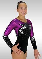 Gymnastikdräkt K769 svart sammet aubergine silver Wetlook glitter