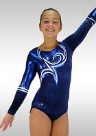 Gymnastikdräkt långärmade mörkblå sammet blå vita wetlook glitters v746