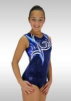 Gymnastikdräkt  Ärmlös mörkblå velour blå vita wetlook glitters v747