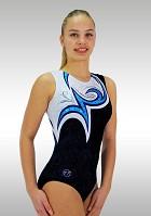 Leotard Without Sleeves in Black Velvet and White Blue Wetlook Strass Glitter V700