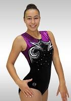 Gymnastikdräkt ärmlös svart sammet aubergine wetlook glitter Vr-5633