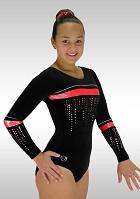 Gymnastikdräkt långärmad svart röd sammet glitter K786