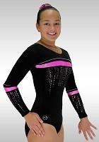 Gymnastikdräkt långärmad svart rosa sammet glitter K787