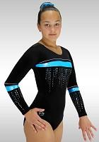 Gymnastikdräkt långärmad K788 blå turkos velour med glitter