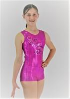 Gymnastikdräkt ärmlös rosa wetlook silver / blå glitter paljetter V826set
