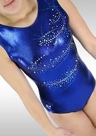 Gymnastikdräkt V778 Ärmlös Blue Wetlook turkos glitter