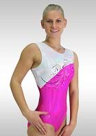 Gymnastikdräkt ärmlös rosa silver Wetlook V779