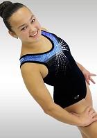 Gymnastikdräkt K774 marinblå sammet blå wetlook voile glitter