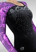 Gymnastikdräkt K781 Långärmad svart sammet aubergine wetlook glitter