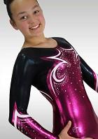 Leotard long sleeves V771 purple black wetlook glitter strass